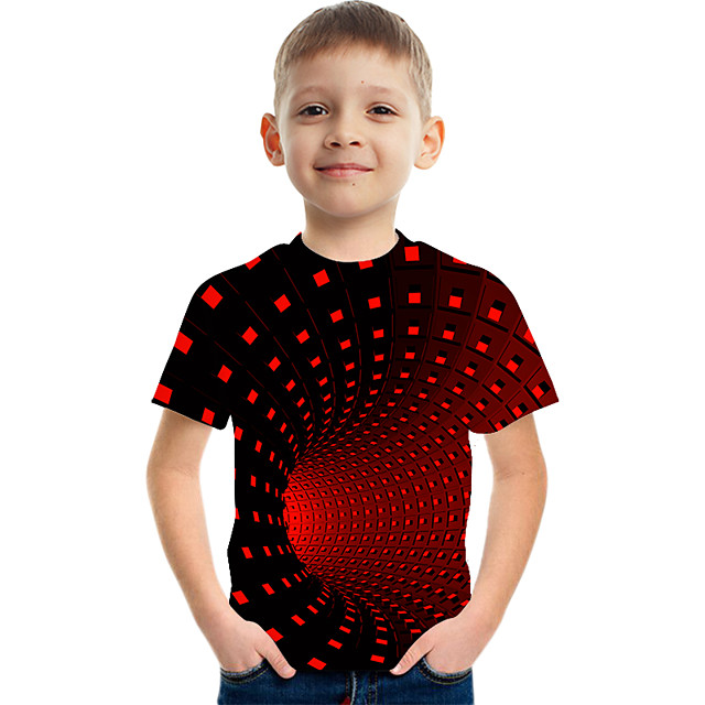 Enfants Garçon T-shirt Tee-shirts Manches Courtes à imprimé arc-en-ciel 3D Print Bloc de Couleur 3D Imprimé Jaune Clair violet foncé Rouge Enfants Hauts Eté basique Chic de Rue Sportif 3-12 ans