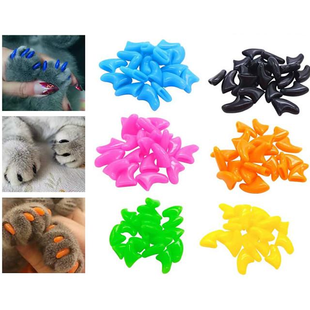 Pisici Seturi de Îngrijire Sănătate Plastic Capac Unghii Animale de Companie  Accesorii de Ingrijire Rosu Roz Portocaliu 20pcs