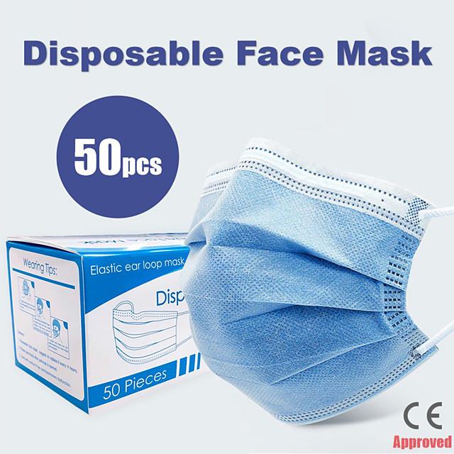 50 pcs Masque Respirable Jetable Protectif 3 couches En stock Etoffe non tissé Non-tissé Tissu non-tissé Meltblown CE Certification Imperméable Porter Haute Qualité Bleu