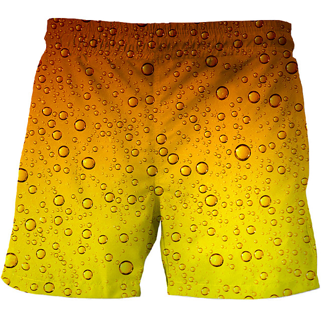 Men's Basic Chinos Shorts Pants Multi Color 3D Short Print Orange