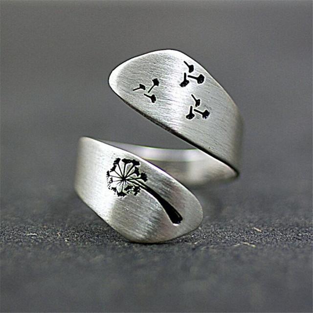 خاتم كلاسيكي فضي طلاء الفضة وردة أنيق 1PC قابل للتعديل