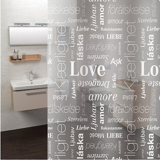 PEVA Antibacterial Letter Pattern Thickened Waterproof Translucent Shower Curtain with Hooks