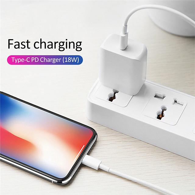 18 W Puissance de sortie USB C Chargeur rapide Chargeur de téléphone Chargeur Secteur Chargeur de portable Chargeur Mural QC 3.0 QC 4.0 Charge Rapide Pour Xiaomi MI HUAWEI Apple iPhone 12 11 pro SE X