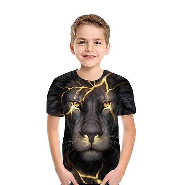 아동 남아 T 셔츠 티셔츠 짧은 소매 3D 어린이 여름 탑스 베이직 레인보우