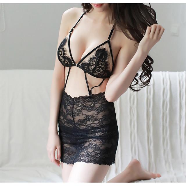 여성용 뒷면이 없는 스타일 컷 아웃 메쉬 가운 수트 잠옷 자카드 솔리드 블랙 원사이즈 / 레이스