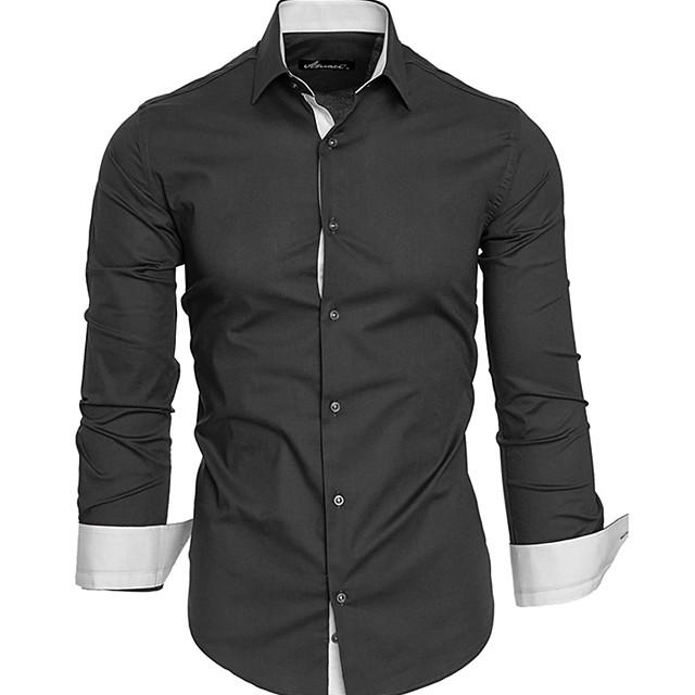 Муж. Рубашка Большие размеры Классический Длинный рукав Повседневные Верхушки Деловые Белый Черный Красный