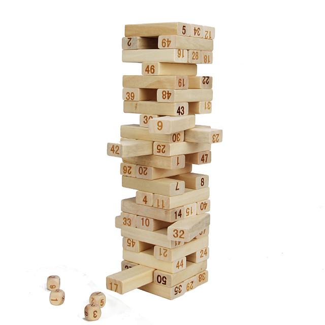 48 pcs Jocuri de masă Jocuri stivuire Bloc de lemn Turnuri din Cuburi De lemn Mini Profesional Pentru copii Adulți Băieți Fete Jucarii Cadouri