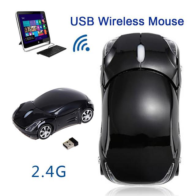 fl01 bezdrátová herní myš 2.4ghz 1600 dpi auto tvar bezdrátový optický svit vedl dýchací lehké ergonomické myši pro myši tabletového počítače