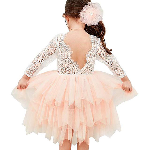 아동 토들러 작은 여아 드레스 컬러 블럭 꽃장식 튀튀 드레스 메쉬 레이스 레이스 트림 화이트 블러슁 핑크 베이지 비대칭 3/4 길이 소매 활동적 귀여운 스타일 드레스 어린이날 보통 1-12 세