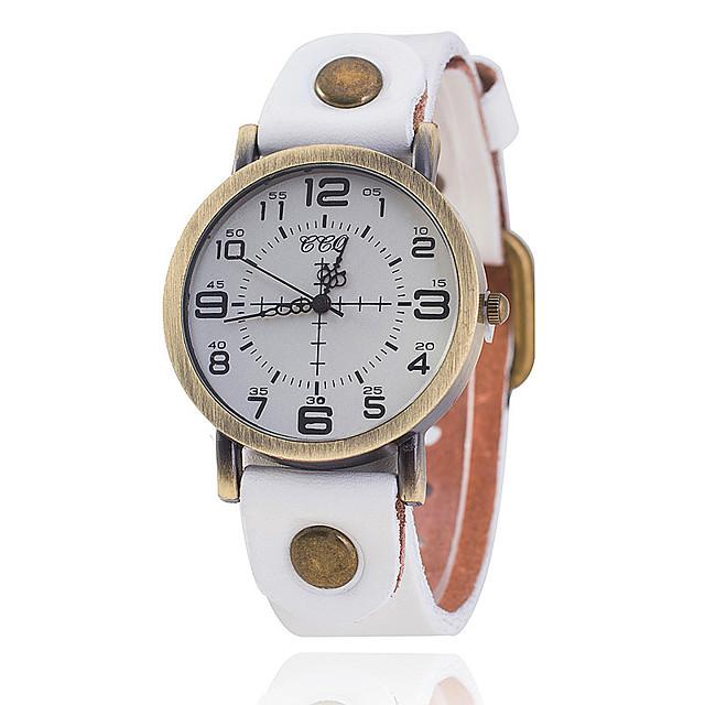 Unisex Elbise Saat Quartz Eski Tip Tarz Vintage Gündelik Saatler Analog Beyaz Siyah Havuz / Bir yıl / Deri / Bir yıl