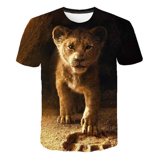 Kids Boys' T shirt Tee Short Sleeve Color Block 3D Animal Print Brown Children Tops Summer Basic Streetwear