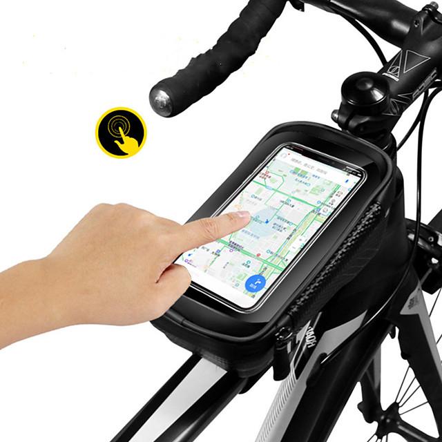 Sac Cadre Velo Sacoche de Guidon de Vélo 6.2 pouce Cyclisme pour Tous Téléphone Portable Téléphones de taille similaire Noir et rouge Noir Cyclotourisme