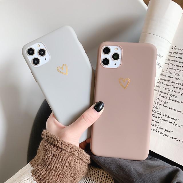 téléphone Coque Pour Apple Coque Arriere iPhone 12 Pro Max 11 SE 2020 X XR XS Max 8 7 6 Antichoc Dépoli Motif Cœur Couleur unie TPU
