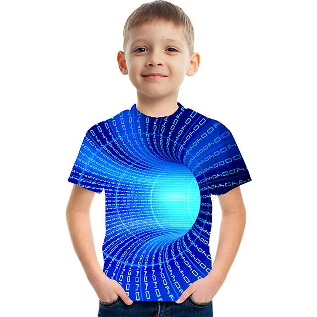 أطفال للصبيان تي شيرت كنزة مطبوعة كم قصير ألوان متناوبة 3D طباعة أطفال عيد الأطفال الصيف قمم نشيط أناقة الشارع التقزح اللوني