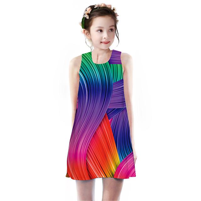 Kids Little Girls' Dress Rainbow Geometric Animal Print Rainbow Knee-length Sleeveless Basic Cute Dresses Children's Day Regular Fit