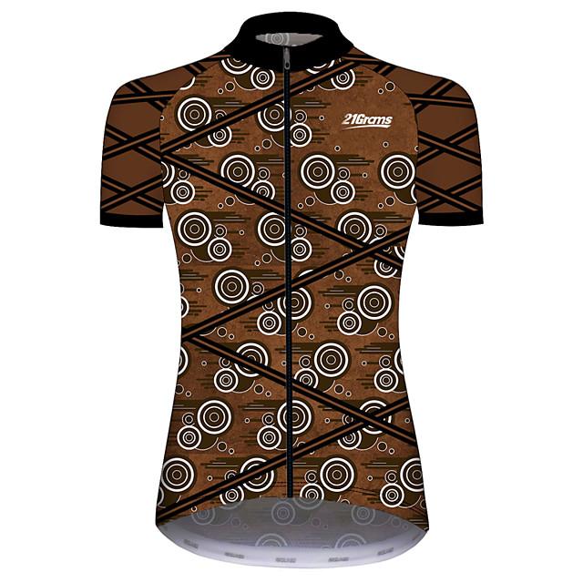 21Grams 여성용 짧은 소매 싸이클 져지 스판덱스 브라운 + 그레이 한 색상 자전거 져지 탑스 산악 자전거 로드 사이클링 자외선 방지 빠른 드라이 통기성 스포츠 의류 / 스트레치