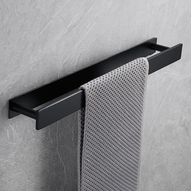 Porte-serviettes de bain auto-adhésif en acier inoxydable de 16 pouces, fixé au mur, accessoires de quincaillerie de salle de bain contemporaine Porte-serviettes, vertical et horizontal, antirouille, 4 couleurs, noir mat, brossé, poli