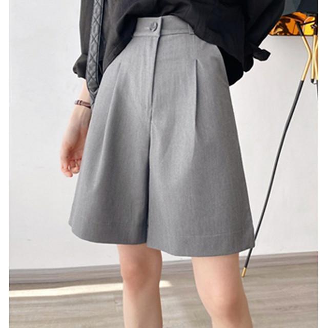 Mujer Básico Corte Ancho Shorts Pantalones Un Color Negro Azul Piscina Naranja