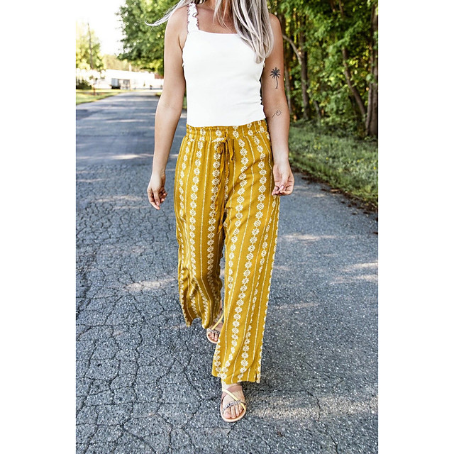 Women's Boho Outdoor Loose Daily Chinos Pants Print Drawstring Yellow