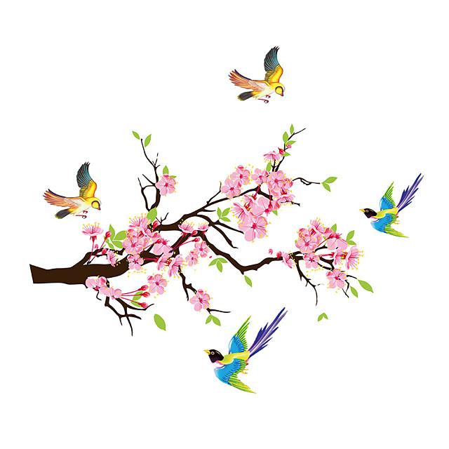 Fleurs de prunier branches pies sticker mural pvc stickers chambre décor affiche décor à la maison 70 * 80 cm
