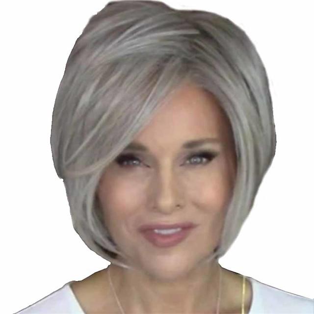 Perruque Synthétique Droite naturelle Bob court Perruque Court Grise Cheveux Synthétiques 14 pouce Femme Homme Faciliter l'habillage Duveteux Blanc