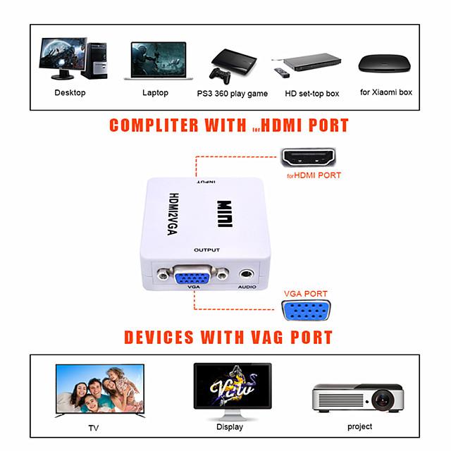 LITBest VGA Konverter, VGA nach HDMI 2.0 / VGA / 3,5 mm Audio Jack Konverter Male - Female 1080P Vergoldetes Kupfer Kurz (unter 20 cm)