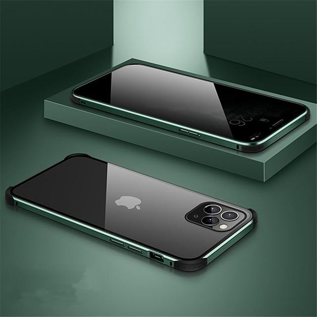 telefono Custodia Per Apple Integrale Custodia ad adsorbimento magnetico iPhone 11 iPhone 11 Pro iPhone 11 Pro Max A calamita Doppia setola Trasparente Tinta unita Vetro temperato Metallo