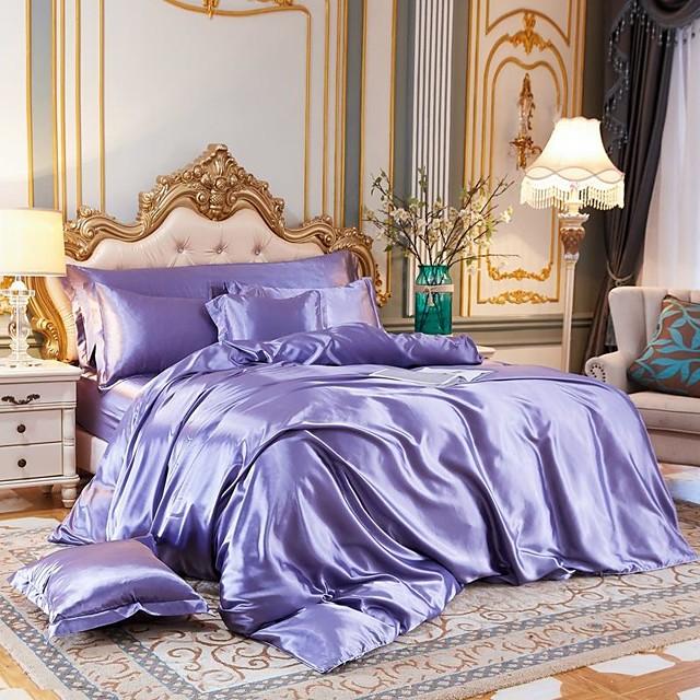 Set copripiumino in tessuto di seta imitato a 4 pezzi, set di biancheria da letto in raso di lusso include 1 copripiumino, 1 lenzuolo piatto, 2 fodere