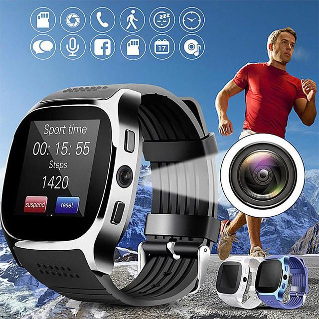 T8 Unisexe Montre Connectée Bluetooth Moniteur de Fréquence Cardiaque Mesure de la pression sanguine Sportif Longue Veille Enregistrement de l'activité Minuterie Chronomètre Podomètre Rappel d'Appel