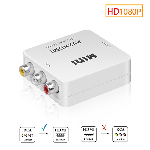 av to hdmi skaler adapter hd video composite converter box hdmi to rca av / cvsb l / r video 1080p mini hdmi2av podrška ntsc pal
