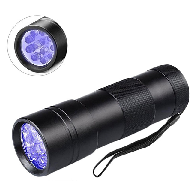 UV MeterMall Flashlight Lampes de poche Lumière Noir 600 lm LED LED 12 Émetteurs 1 Mode d'Eclairage Professionnel Durable Camping / Randonnée / Spéléologie Usage quotidien Pêche Extérieur Violet