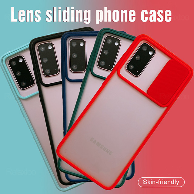 слайд-камера защита объектива противоударный чехол для телефона samsung galaxy s20 plus / s20 ultra / s20 soft tpu матовая задняя крышка