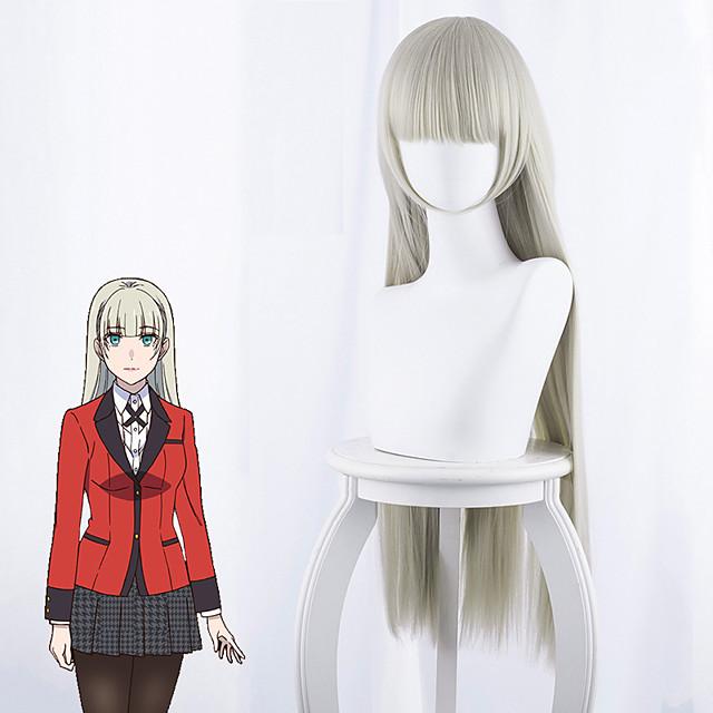 Kakegurui Momobami Ririka Cosplay Perukları Kadın's Düz Kahküllü 35 inç Isı Dirençli Fiber Kinky Düz Gri Yetişkin Anime Peruk