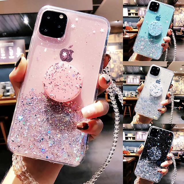 telefono Custodia Per Apple Per retro iPhone 12 Pro Max 11 SE 2020 X XR XS Max 8 7 6 Supporto ad anello Traslucido Glitterato Glitterato TPU
