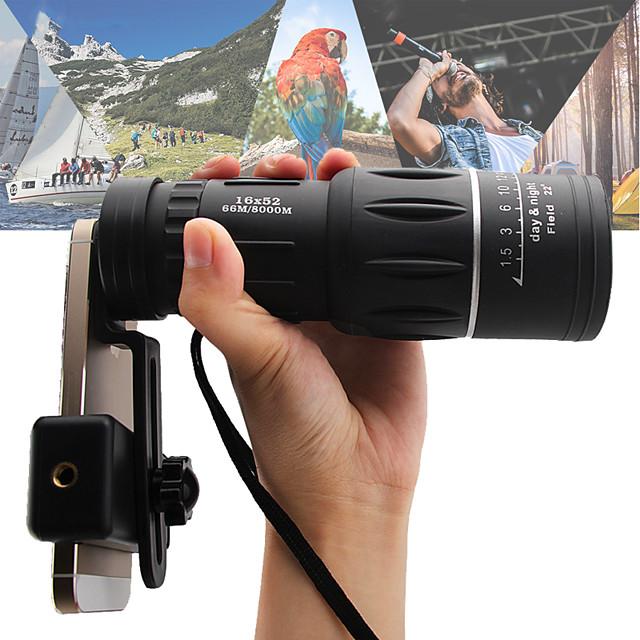 16 X 52 mm Monoculaire Vision nocturne en basse lumière Portable 66/8000 m BAK4 Camping / Randonnée Chasse Pêche ABS + PC / Oui / Observation d'Oiseaux