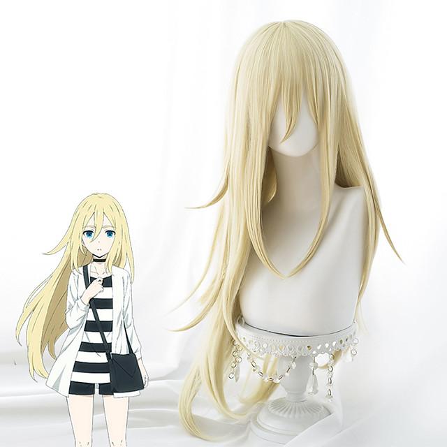 Kuoleman enkelit Cosplay-Peruukit Naisten Epäsymmetrinen leikkaus 35 inch Heat Resistant Fiber Kinky Straight Keltainen Aikuisten Anime peruukki