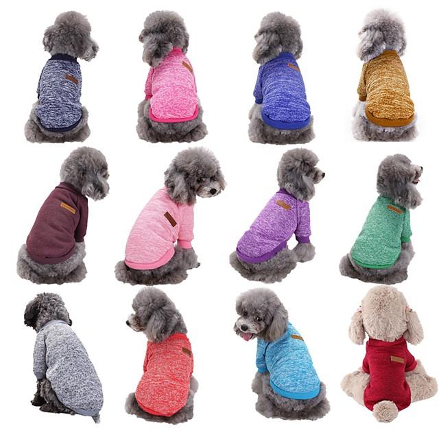 Câine Pulovere Haine pentru catelus Dungi Iarnă Îmbrăcăminte Câini Haine pentru catelus Ținute pentru câini Mov Rosu Mov Închis Costume pentru fată și câine băiat De Lână XS S M L XL
