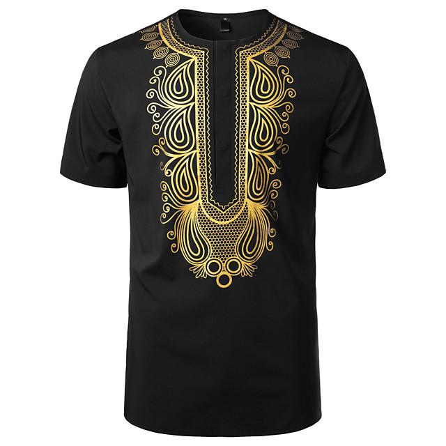 Homme T-shirt Chemise Tribal Manches Courtes Quotidien Hauts basique Rétro Vintage Col Rond Blanche Vin Noir