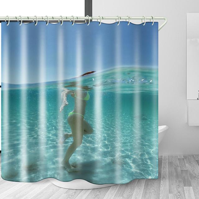海水ビーチ美容デジタルプリント防水生地シャワーカーテン用浴室の家の装飾カバーバスタブカーテンライナーはフック付き