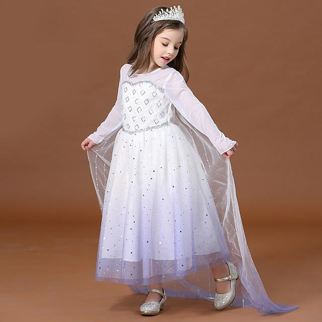 Prinsessa Elsa Mekot Kukka tyttö mekko Tyttöjen Elokuva Cosplay A-linja-alushame loma mekko Valkoinen Leninki Lasten päivä Masquerade Tylli Polyesteri