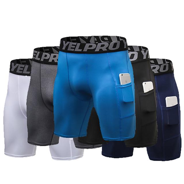 YUERLIAN Homme Shorts de compression Short moulant de course Athlétique Bas avec poche téléphone Ceinture élastique Spandex Eté Aptitude Exercice Physique Fonctionnement Entraînement actif Le jogging