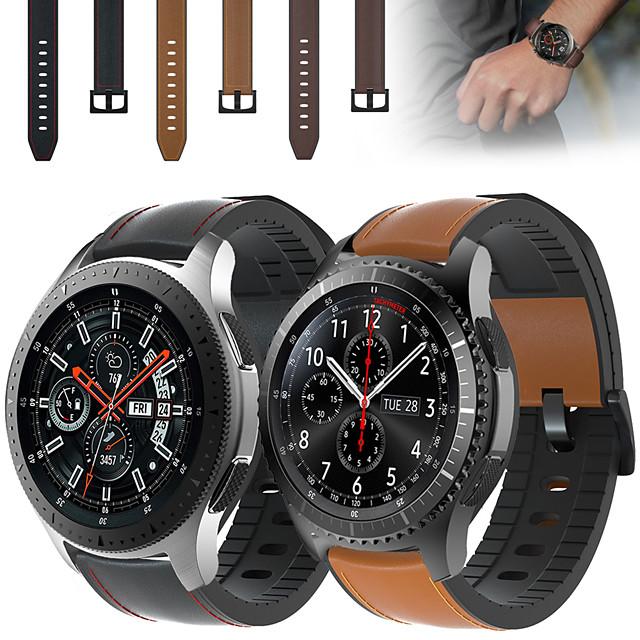 kožený silikonový pásek na zápěstí řemínek pro hodinky samsung galaxie 46mm / gear s3 classic / s3 frontier vyměnitelný náramek na zápěstí