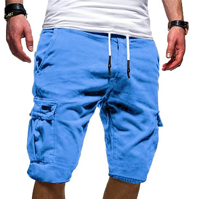 Men's Basic Military Outdoor Daily Weekend Shorts Tactical Cargo Pants Solid Colored Knee Length Sporty Drawstring White Black Blue Wine Army Green