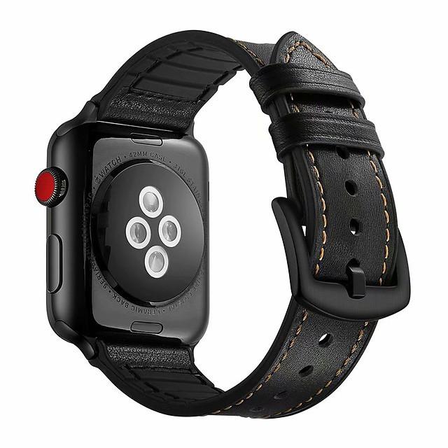 kompatibelt apple watch band 44mm 42mm 40mm 38mm ekte lær og silikon sport watch band med beskyttelsesetui erstatning for iwatch series 5 4 3 2 1