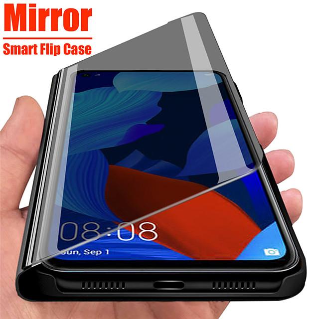 telefono Custodia Per Samsung Galaxy Integrale Custodia flip A91 / M80S A51 Galaxy A71 A specchio Con chiusura magnetica Auto sospendione / riattivazione Tinta unita pelle sintetica PC