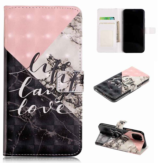 θήκη για apple iphone 11 / iphone 11 pro / iphone 11 pro max wallet / card holder / with stand full body case μαρμάρινο PU δέρμα / tpu για iphone se (2020) / 8/8 plus / x / xs / xr / xs max