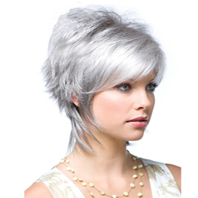 Synthetische pruiken Natuurlijk recht Asymmetrisch kapsel Pruik Kort Zilver grijs Synthetisch haar 6 inch(es) Dames Nieuw ontwerp Gemakkelijk aankleden Stoer Donker Grijs