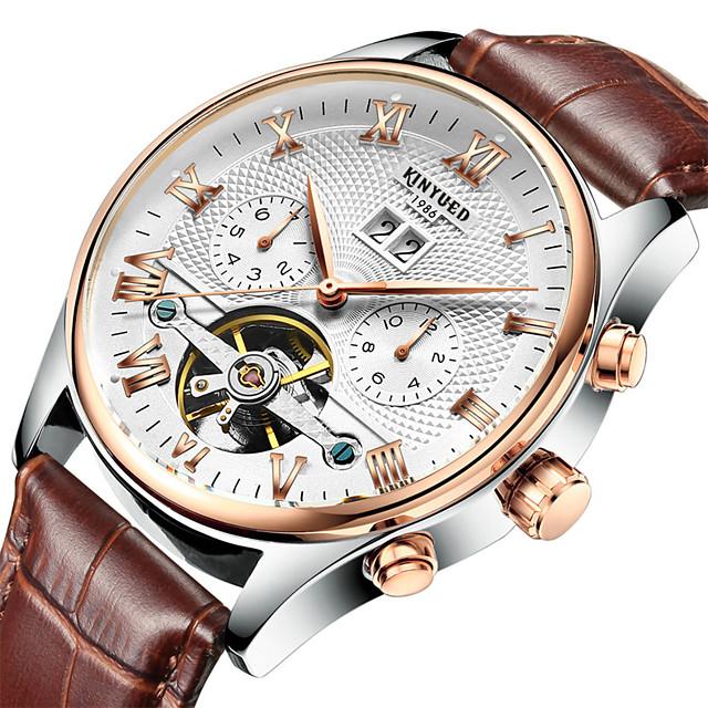 KINYUED Voor heren mechanische horloges Automatisch opwindmechanisme Moderne Style Stijlvol Informeel Waterbestendig Analoog Zwart Bruin / Echt leer / Kalender / Stootvast / Echt leer
