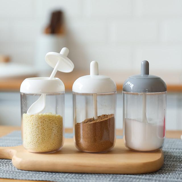 bouteille de stockage d'assaisonnement de cuisine 1 pc avec cuillère pour sel et sucre