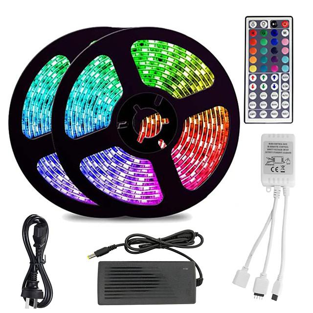 KWB 10m Fâșii De Becuri LEd Flexibile 600 LED-uri 5050 SMD 10mm 2 Piese RGB Rezistent la apă Telecomandă Ce poate fi Tăiat / IP65 / Intensitate Luminoasă Reglabilă / De Legat / Schimbare - Culoare